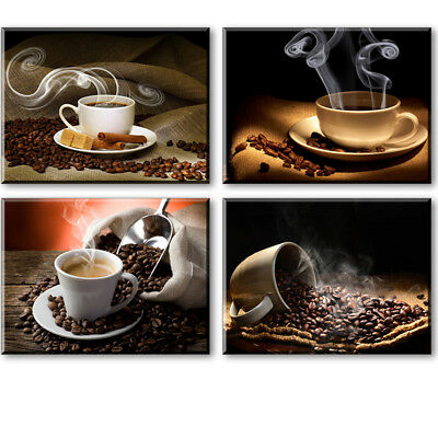 4 Pieces Canvas Prints Oil Painting Sensation Framed Waterproof Hot Coffee Beans