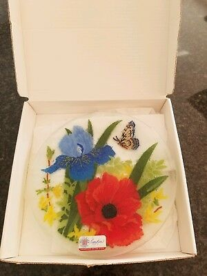 """Peggy Carr Glass 8""""  Plate Forsythia Bouquet Signed, Never Used in Box."""
