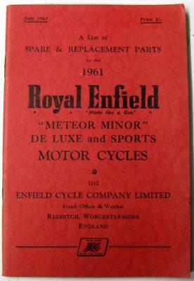 ROYAL ENFIELD Meteor Minor 1961 Original Owners Motorcycle Parts List