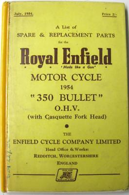 ROYAL ENFIELD 350 Bullet 1954 Original Motorcycle Owners Parts List