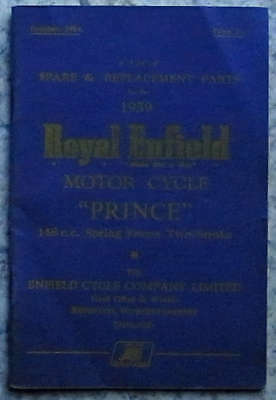 ROYAL ENFIELD PRINCE 148cc MOTORCYCLE Oct 1959 Illustrated Spare Parts List Book