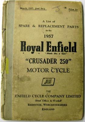 ROYAL ENFIELD Crusader 250 1957 Original Motorcycle Owners Parts List