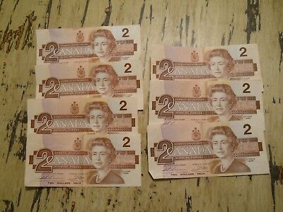 Qty 7 1986 CANADA Canadian $2 Two Dollars Bill Notes Good Circulated Condition