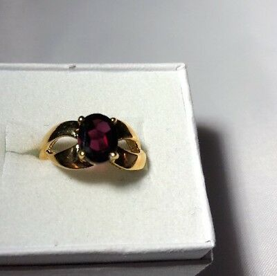 Stunning Ring Size 3 .5 14 K Gold Plated Garnet Colored Stone   Estate Jewelry