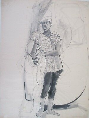 Paul McCarron Unsigned Vintage Pen, Graphite Paper African American Male