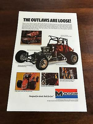 1987 VINTAGE 6.5x10 PRINT AD FOR MONOGRAM TOY MODELS WORLD OF OUTLAWS ARE LOOSE!