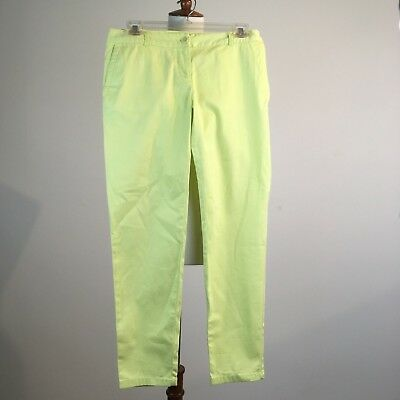 Talbots Women Petite Cropped Pants Yellow Pockets Summer Size 2P Casual Career