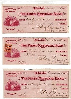 LOT of 3  The First National Bank of Philadelphia cancelled checks, dated 1865