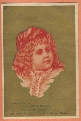 Victorian Trade Card - BOSTON BRANCH boots & shoes child ruffled shirt curls
