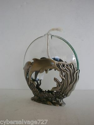 Dolphin Oil Lamp Pewter & Glass with Dolphin's Nautical Theme