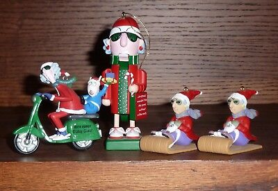 4 x MAXINE Hallmark Ornament Here Comes Crabby Claus Maxine Nut Cracker Sled
