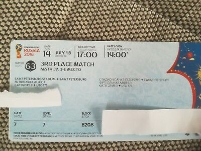 FIFA WM 2018 Ticket 3rd place match in St. Petersburg, Match 63