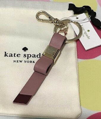 New Kate Spade Key Fob Leather Bow Key Chain Ring In Dusty Peony Multi  $39