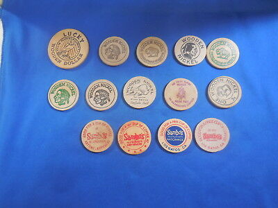 Lot Of 13 Old Wooden Nickels 4 Different Sambos 1 Wooden Dollar