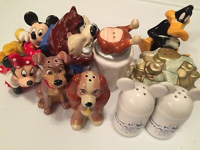 Lot Of 5 Collectible Salt & Pepper Shakers Disney & WB Characters!
