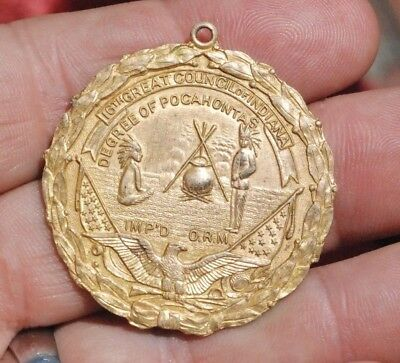 Original Antique Council of Indiana  Degree of Pocahontas Watch Fob Early 1900's