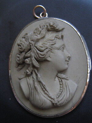 Large Antique 9Ct Yellow Gold Mounted Lava Cameo Pendant  / Brooch Conversion