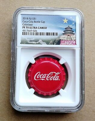 NGC PF70 2018 Fiji Coca-Cola Bottle Cap $1 6g Silver Proof Coin Temple Label COA