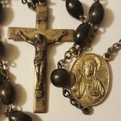 "Antique Vintage Rosary Black Wood Beads Sterling Silver 24"" (R166)"