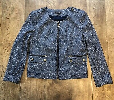 Ann Taylor Blue/White Tweed Lined Cropped Jacket Blazer w/Cuffed Sleeve Sz 14