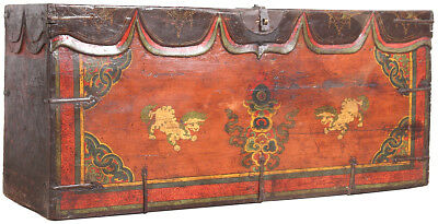 Vintage Hand Painted Chinese Art Wood Opera Trunk/Chest/Box 58'' x 26''H