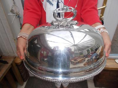 Antique Silver Plated Meat Food Dome Cover