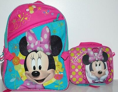 Disney Minnie Mouse  Backpack W/ Detachable Lunch Box Tool Kit Girls Plus Extra