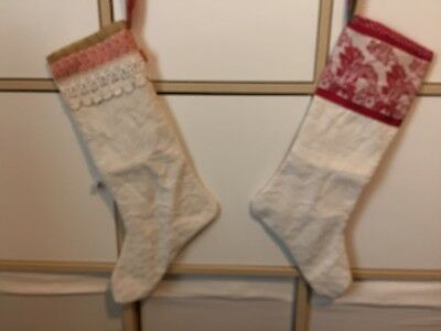 Pair Antique Christmas Stocking Made From Vintage Metalasse Spread Red Trim
