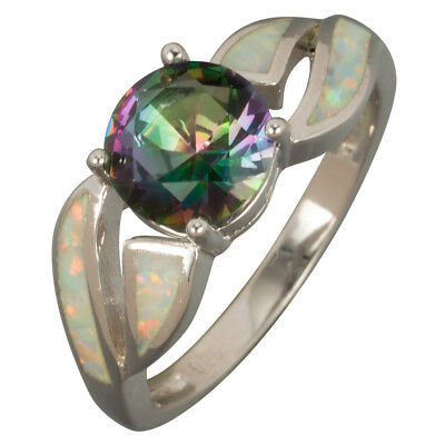 White Fire Opal 8mm Round Rainbow Mystic Topaz Silver Ring UK Size N P R 7 8 9