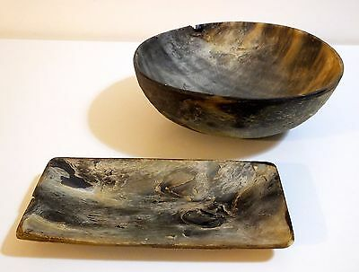 ULTRA RARE Old Antique Primitive Hand Made from HORNS Bowl & Rectangular Plate