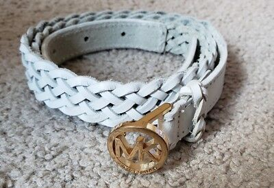 "MICHAEL KORS LADIES WHITE BRAIDED LEATHER BELT 20 mm Wide Sz S  39"" Long"