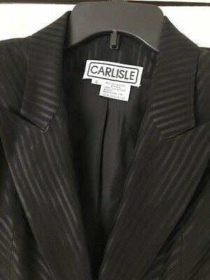 Vintage 1980's CARLISLE Black Striped blazer Jacket wool blend Lined Size 4