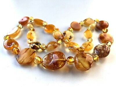 Natural Genuine Baltic sea Amber Polished stone Beads ladies necklace 19gr. #550
