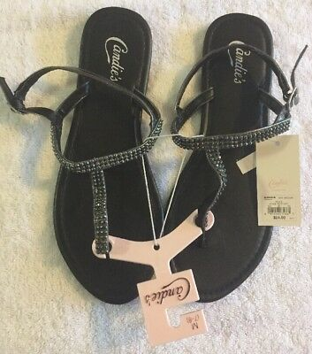 142b99499283 NEW Women s Candie s Thong Sandals With Rhinestones Size M (7-8) Silver  Sparkle