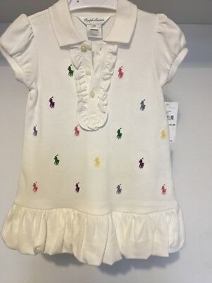 Ralph Lauren Baby Girl Polo Dress And Bloomer Set 12m