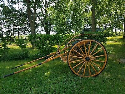 2 WHEEL BUGGY Cart Wagon Restored Amish Built Oak Wooden Single Horse 2  Person