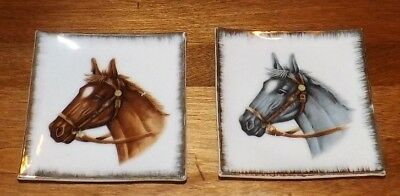 2 Vintage Bradley Exclusives Horse Head Square Plates Dishes Japan