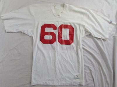 Vtg 80s Champion Nylon Football Jersey #60 Mesh Sz Medium White / Red 70s USA