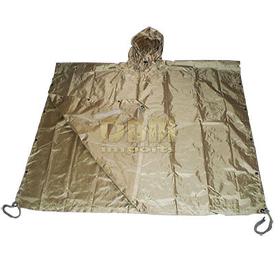 Military USMC Style Poncho Rain Coat Water resistant TAN COYOTE *FREE SHIPPING*