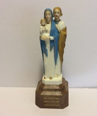 Vintage Plastic Statue Mary Joseph Infant Jesus - Our Family Rosary