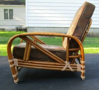 Mid-Century Ritts Tropitan Rattan Lounge Chair Retro Morris Chair Bamboo