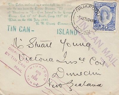 Toga: Tin can Mail - Blechdosenpost - to New Zealand 1935
