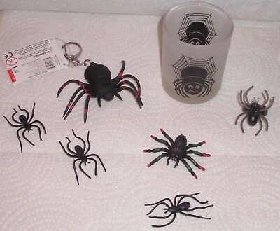 7pc NWT & Vintage BLACK SPIDER LOT glass candle holder LIGHT UP KEYCHAIN ring +