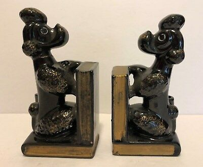 Vintage Pair of Black Poodle Bookends with Pen Holders – Stamped Japan