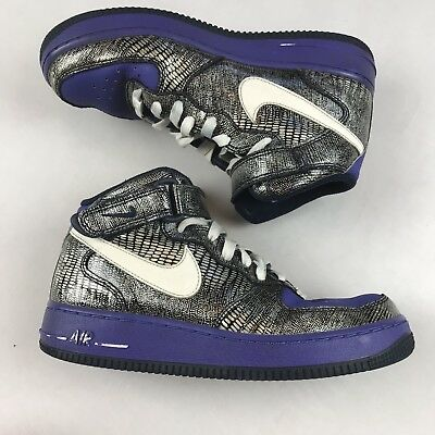 check out 4c1cf 7b31e NIKE AIR FORCE 1 Womens Girls High Top Sneakers Size 8 Purple Silver  Snakeskin