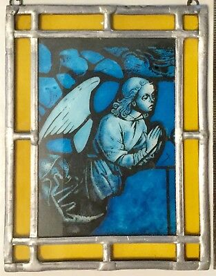 "Leaded Stained Glass Angel Hanging Picture 5"" X 6 1/2""with Chain"
