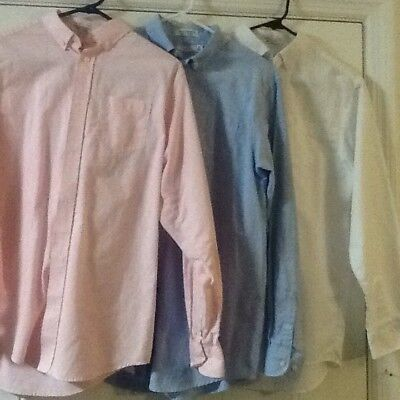 Lot 3-Izod Boys Large 20 Reg Oxford Button Down Collar LS Pink Blue White Shirts