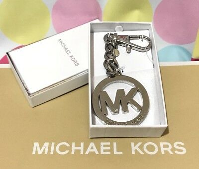 New Authentic Michael Kors Charm  MK Logo Key Chain in Silver $58.00