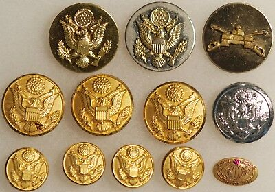 11 U.S. Military Buttons Plus 1 Presidents Honor Circle Pinback NICE! LOOK!@@!