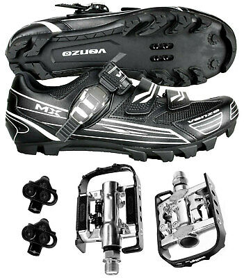 Venzo Mountain Bike Bicycle Shimano SPD Shoes with Wellgo Pedals Black